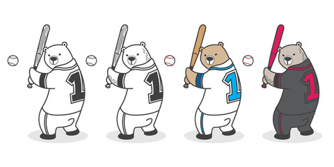 Bear vector Polar Bear baseball icon logo sport cartoon character illustration
