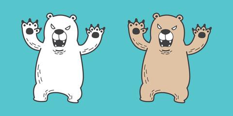 bear vector Polar bear icon logo angry illustration character cartoon