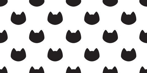cat seamless vector pattern kitten head icon isolated background wallpaper