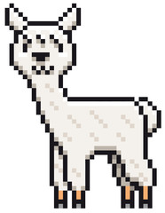 Vector illustration of Alpaca cartoon - Pixel design