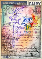 Deurstickers Imagination Manoscritti,disegni,scrapbooks e collage con simboli esoterici,astrologici e alchemici