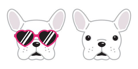 dog French bulldog vector icon pink sunglasses heart illustration character cartoon white