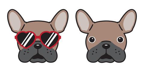 dog French bulldog vector icon sunglasses heart illustration character cartoon brown