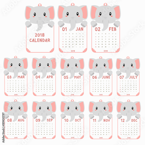 2018 calendar template 2018 animal shaped calendar cute baby elephant holding calendar printable