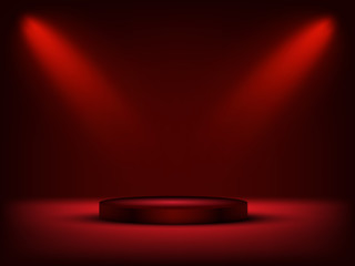 Red cylinder podium under light on red background. Vector illustration.
