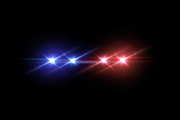 Police car flash effect on dark background. Vector illustration.