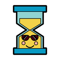 hourglass time sunglasses kawaii character vector illustration