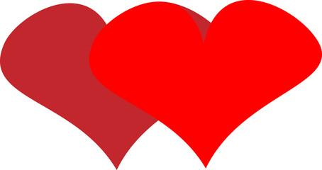 two hearts for Valentine's Day design congratulation logo