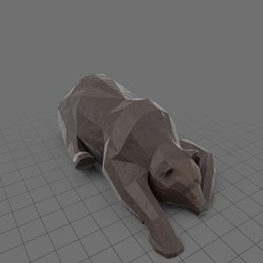 Stylized brown bear lying down