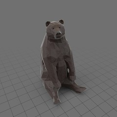 Stylized brown bear sitting