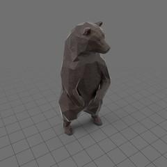 Stylized brown bear upright