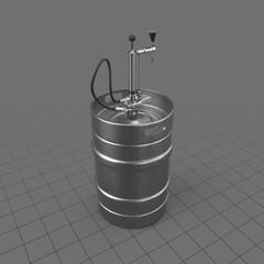 Full size beer keg with tap