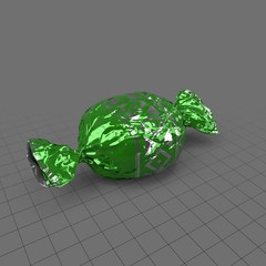 Hard candy in green and silver wrapper