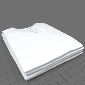 Stack of folded crew neck shirts with tags (mens)