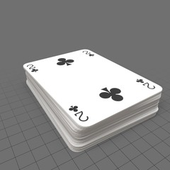 Blue playing cards with two on top