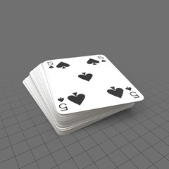 Blue playing cards with five on top