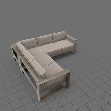 Wood frame patio sectional