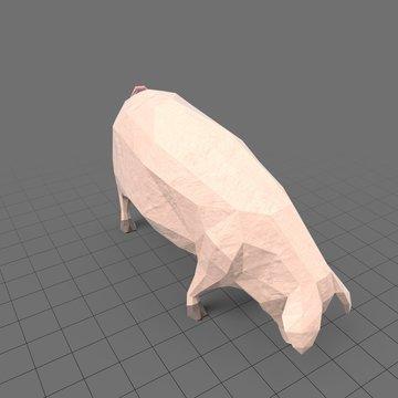 Stylized pig grazing