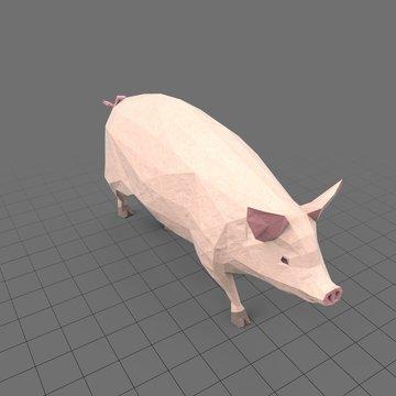 Stylized pig running