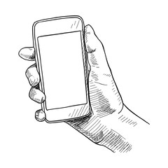 Hand holding mobile phone, sketch vector illustration