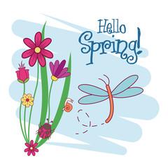 Hello spring card icon vector illustration graphic design