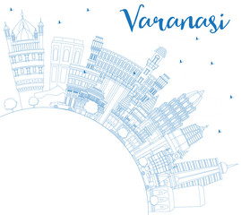 Outline Varanasi India City Skyline with Blue Buildings and Copy Space.