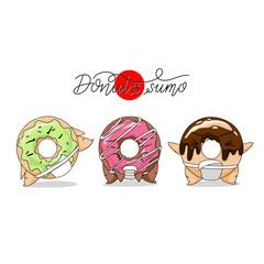 Cartoon funny donut sumo