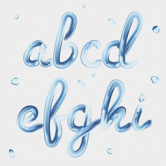 3d font. Transparent Letters a, b, c, d, e, f, g, h, i. Realistic water paint render typography vector illustration.