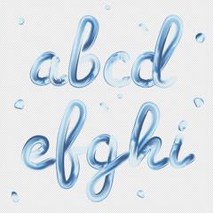 3d font. Transparent Letters a, b, c, d, e, f, g, h, i. Realistic water paint render typography vector illustration.