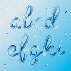 3d font. Letters a, b, c, d, e, f, g, h, i. Realistic water paint render typography vector illustration. Transparent text.
