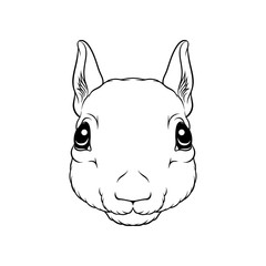 Sketch of squirrels head, portrait of forest animal black and white hand drawn vector Illustration