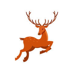 Brown spotted deer with antlers running, wild animal cartoon vector Illustration