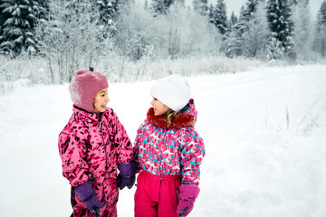 two happy girls in the winter overalls walk in the snow
