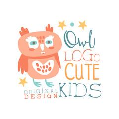 Owl logo, cute kids original design, baby shop label, fashion print for kids wear, baby shower celebration, greeting, invitation card colorful hand drawn vector Illustration