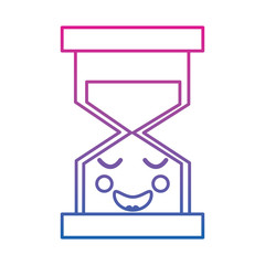 hourglass time happy kawaii character vector illustration color line gradient