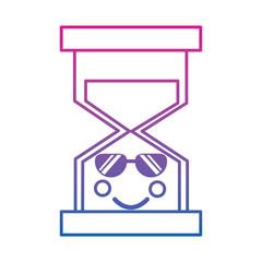 hourglass time sunglasses kawaii character vector illustration color line gradient