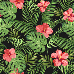 Seamless pattern with exotic flowers and leaves. Tropical Plants