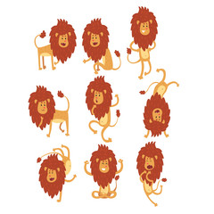 Set of funny African lion in different actions. Cartoon wild animal character. Zoo theme. Flat vector design for children s book, t-shirt print or sticker