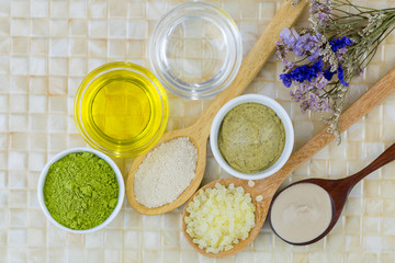 Australian Clay Powder, Coconut oil, Jojoba Golden Oil, Ground green tea, Matcha Green tea scrub to make home spa beauty skin product