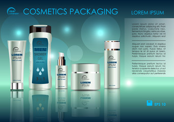 Vector cosmetics template with shower gel, creme tube, and creme box soap in blue color