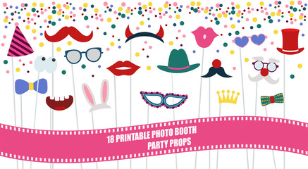 Big photo booth props set vector illustration