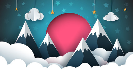 Mountain paper illustration. Red sun, cloud, star sky Vector eps 10