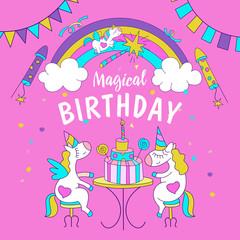 Unicorns. Illustration of happy birthday