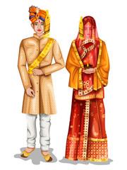 Uttarpradeshi wedding couple in traditional costume of Uttar Pradesh, India