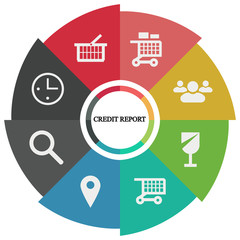 Business infographics. Pie chart with the inscription:credit report