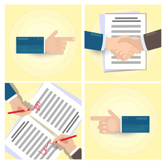 Handshake. Conclusion of the contract. Two hands doing a handshake, business concept. Vector image