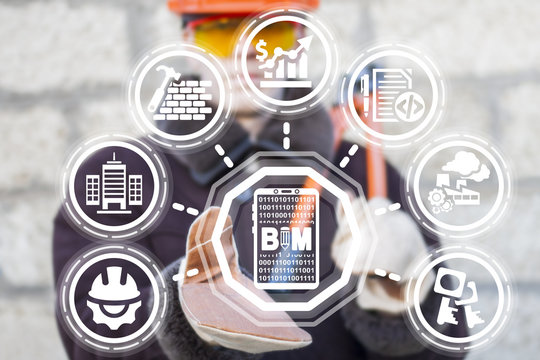 Industrial engineer using virtual interface offers smartphone bim icon. Building Information Modeling Designing Business Industry concept.