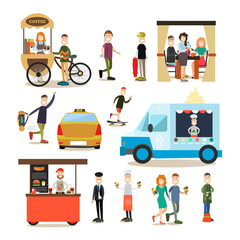 Street people vector flat icon set