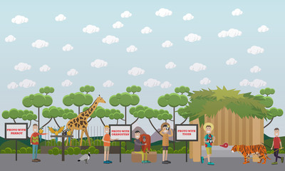 Tourists visiting zoo vector illustration in flat style
