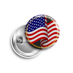 Presidents day button,badge,banner isolated with  with USA flag